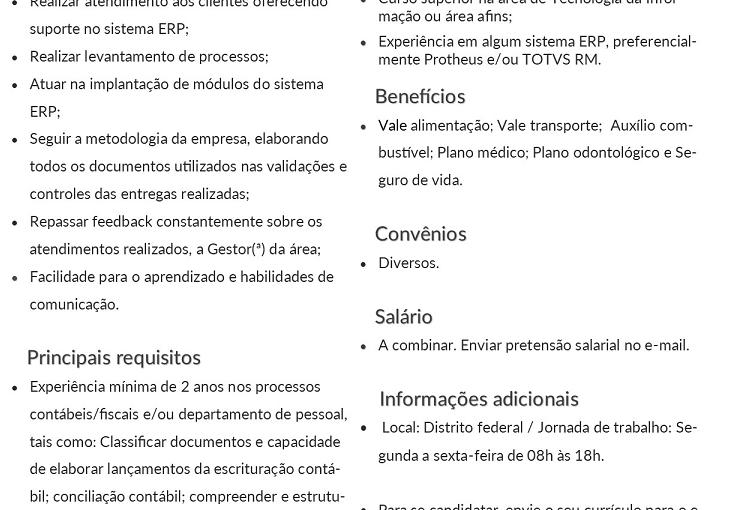 [ClubInfoBSB] [ANALISTA DE NEGÓCIOS JÚNIOR] enviar pretensão salarial