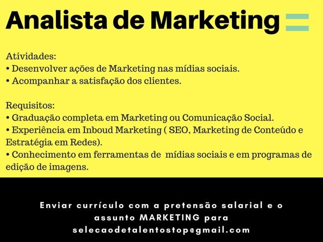[GEBE Empregos] Vaga: Analista de Marketing – 15/12