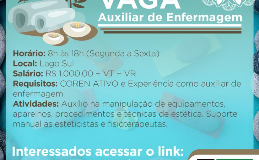 [GEBE Empregos] Aux. Enfermagem IEL/DF – 04/12