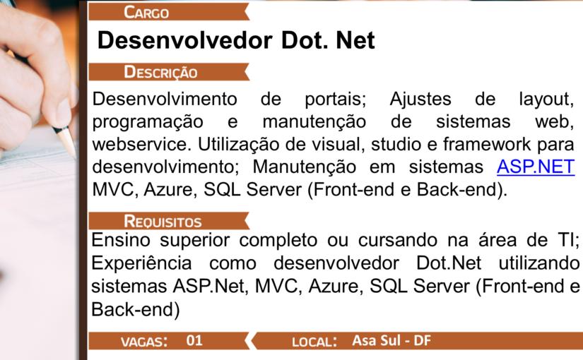 [GEBE Empregos] DESENVOLVEDOR DOT.NET – 18/12