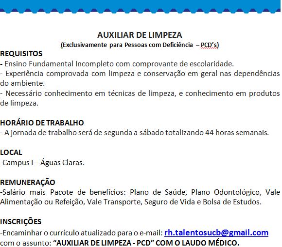 [GEBE Oportunidades] Auxiliar de Limpeza – Universidade Católica de Brasília – 24/12