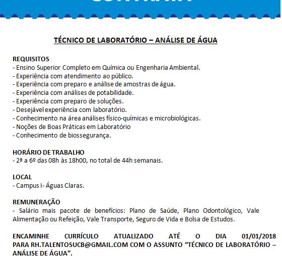 [GEBE Oportunidades] Técnico de Laboratório – Análise de Água – Universidade Católica de Brasília – 24/12