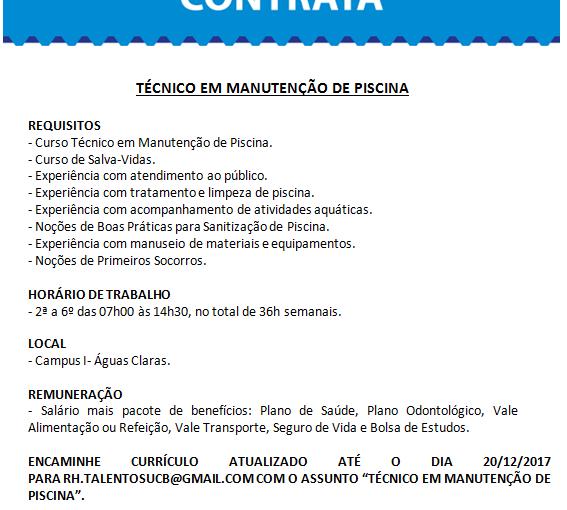 [GEBE Oportunidades] Técnico em Manutenção de Piscina – Universidade Católica de Brasília – 24/12