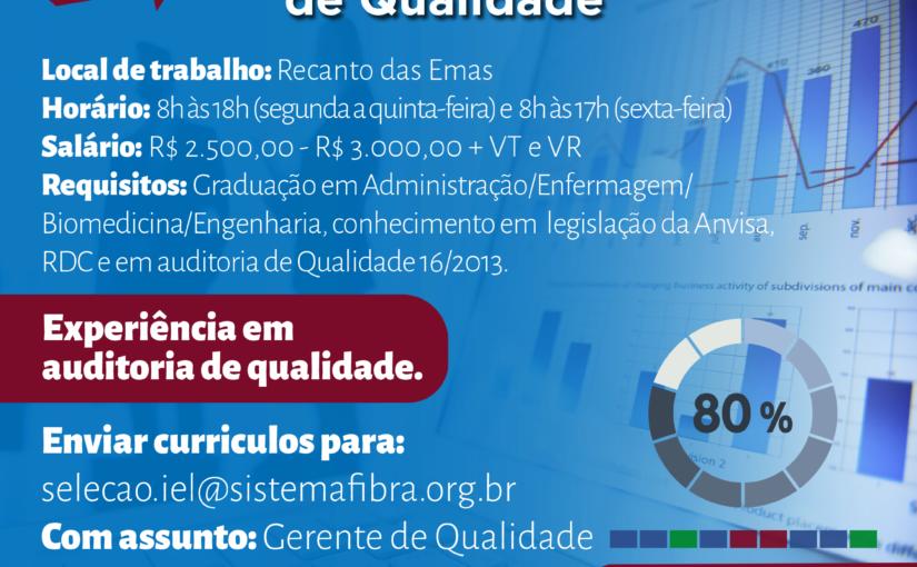 [GEBE Empregos] Gerente de Qualidade IEL/DF – 04/12