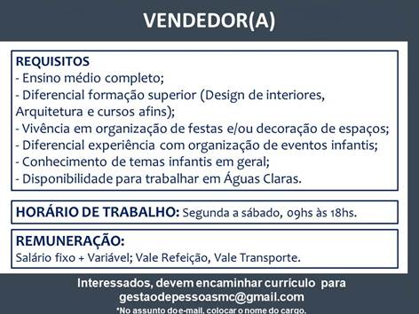 [GEBE Empregos] Oportunidade | Vendedor(a) – Empresa de eventos – 13/12