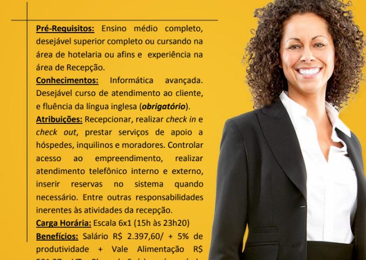 [GEBE Empregos] Recrutamento Hplus Hotelaria – 05/12