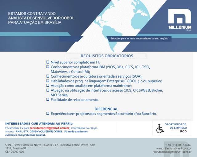 [ClubInfoBSB] Oportunidade Millenium Brasil – Analista Desenvolvedor Cobol