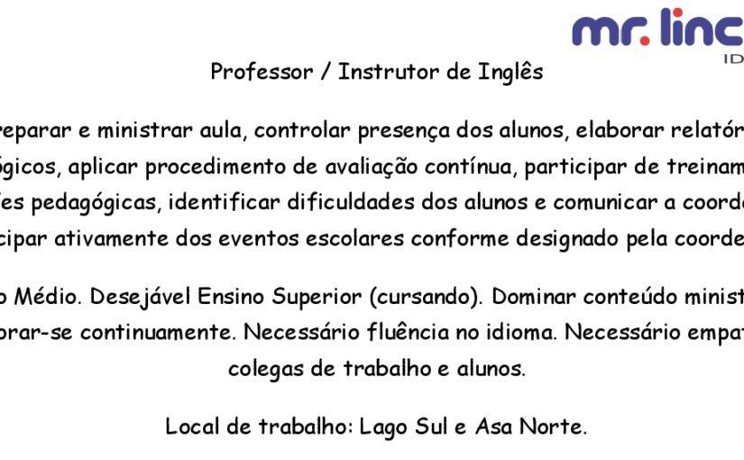 [GEBE Oportunidades] Professor/ Instrutor de Inglês – 15/01