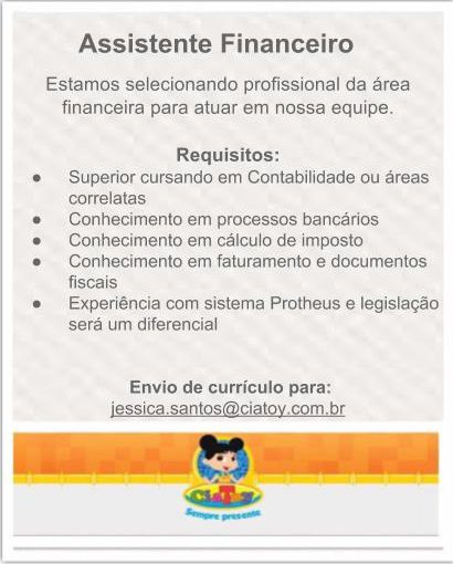 [GEBE Oportunidades] Oportunidade Ciatoy – Assistente Financeiro – 02/01