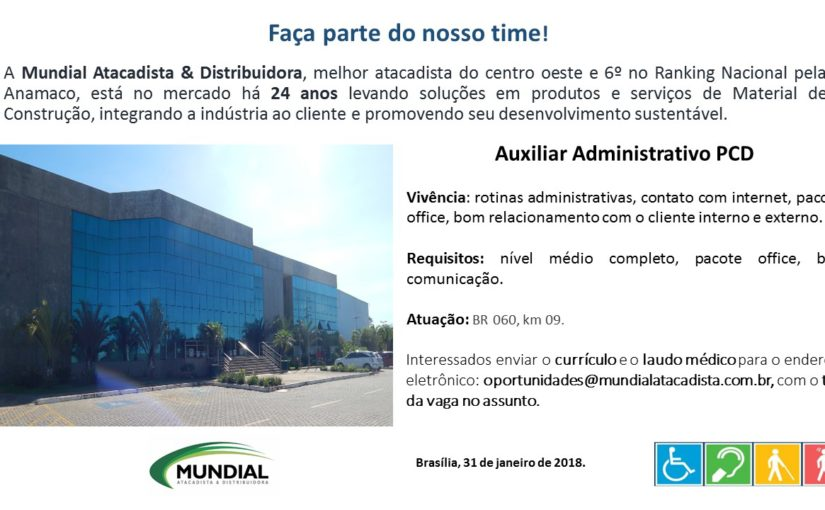 [GEBE Oportunidades] Vaga – Auxiliar Administrativo PCD – 31/01