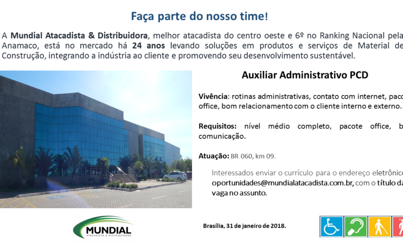 [GEBE Oportunidades] Vaga – Auxiliar Administrativo PCD 31/01