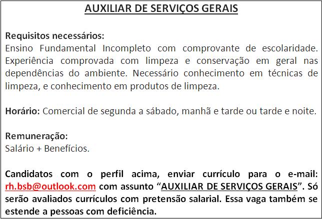 [GEBE Oportunidades] AUXILIAR DE SERVIÇOS GERAIS – 05/01