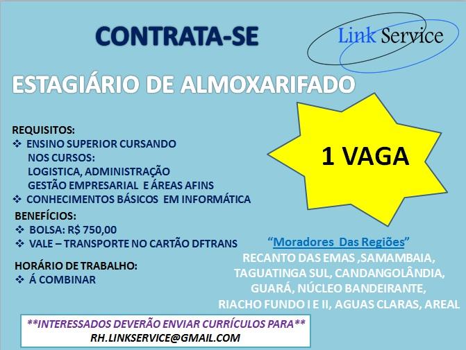 [GEBE Oportunidades] ESTAGIARIO ALMOXARIFADO – LINK SERVICE – 16/01