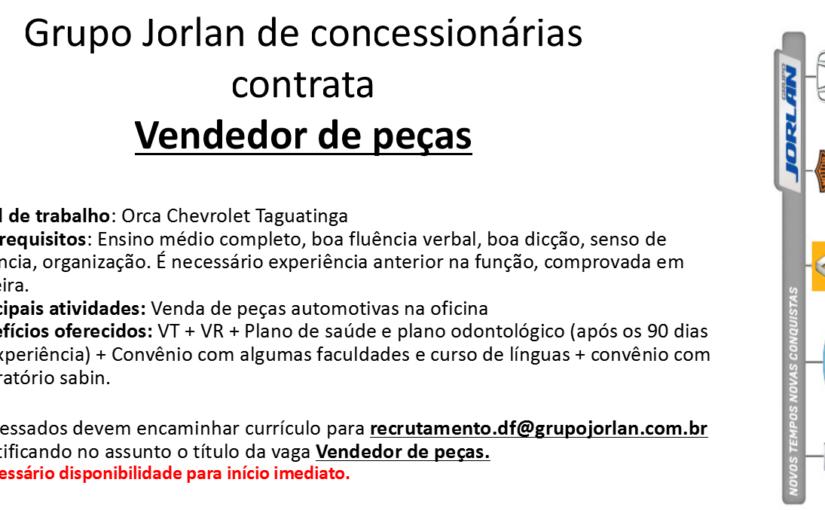 [GEBE Oportunidades] VENDEDOR DE PEÇAS – 05/01