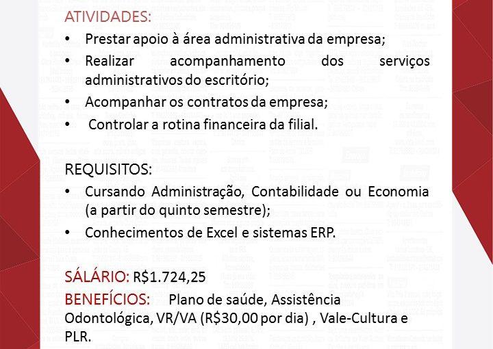 [GEBE Oportunidades] Vaga Assistente Administrativo – Teresina-PI – 09/01