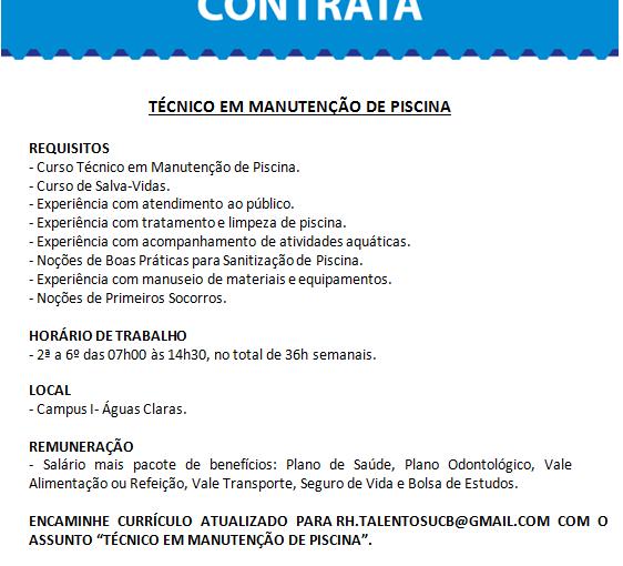 [GEBE Oportunidades] Vaga: Técnico em Manutenção de Piscina 05/01