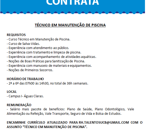 [GEBE Oportunidades] Técnico em Manutenção de Piscina – UCB – 19/01