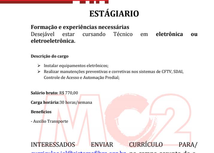 [GEBE Oportunidades] Vaga de Estágio IEL/DF eletrônica ou eletroeletrônica. 08/01