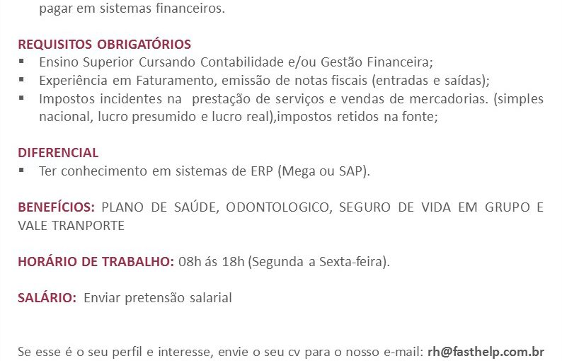 [GEBE Oportunidades] Oportunidade: Assistente Financeiro – 05/01