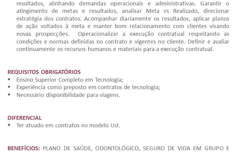 [GEBE Oportunidades] Oportunidade: Coordenador de Contratos de TI(Preposto) – 21/01