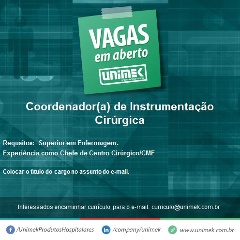 [GEBE Oportunidades] Oportunidade – Coordenador(a) de Instrumentação Cirúrgica 17/01