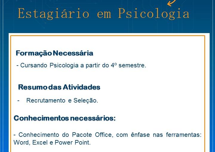[GEBE Oportunidades] ESTAGIÁRIO DE PSICOLOGIA – 09/01