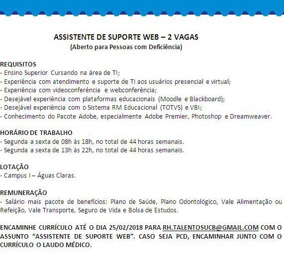 [GEBE Oportunidades] Vaga: Assistente de Suporte WEB – Universidade Católica de Brasília – 19/02