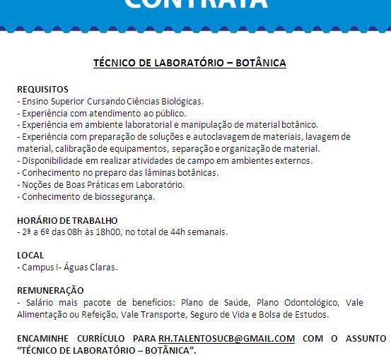 [GEBE Oportunidades] Vaga: Técnico de Laboratório – Universidade Católica de Brasília – 19/02