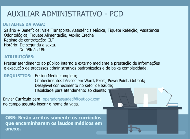 [GEBE Oportunidades] AUXILIAR ADMINISTRATIVO – PCD – 22/02