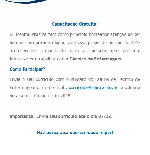 [GEBE Oportunidades] Capacitação Gratuita – Hospital de Brasília – 28/02